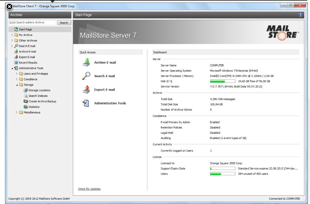 Mailstore email archiving interface