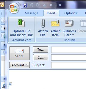 Acrobat Extension for sending attachments